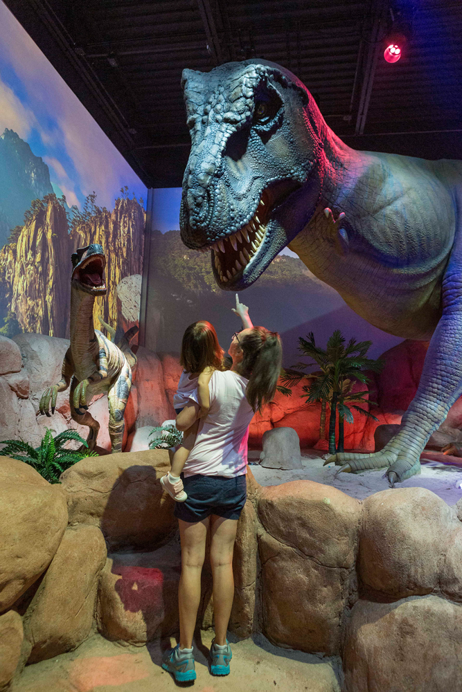 Elizabeth McCabe and 2-year-old daughter Rosalyn of Cary visit the Prehistoric Passages -- Realm of Dragons exhibit at the Greensboro Science Center.