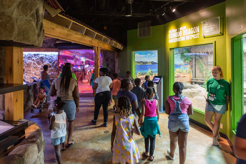 Elizabeth McCabe and 2-year-old daughter Rosalyn of Cary visit the dinosaur exhibit at the Greensboro Science Center.