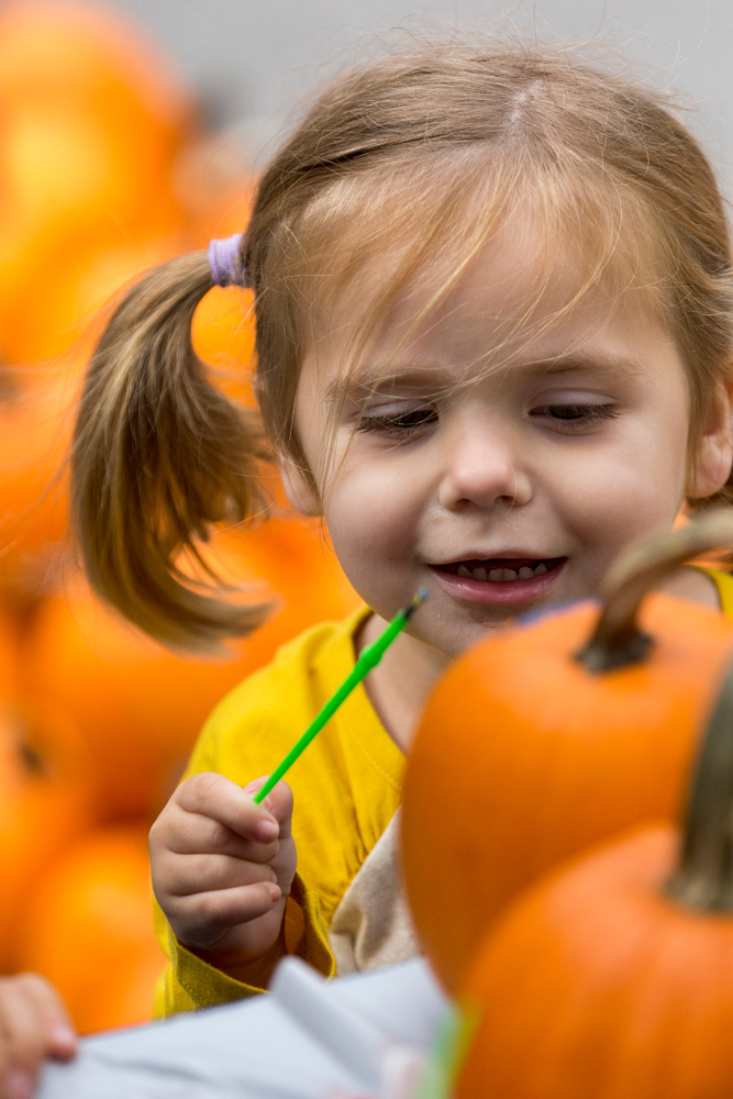 Two-year-old Anna Wallace paints a pumpkin at the Caldwell Banker booth at the Celebrate Fuquay-Varina Festival 2019.