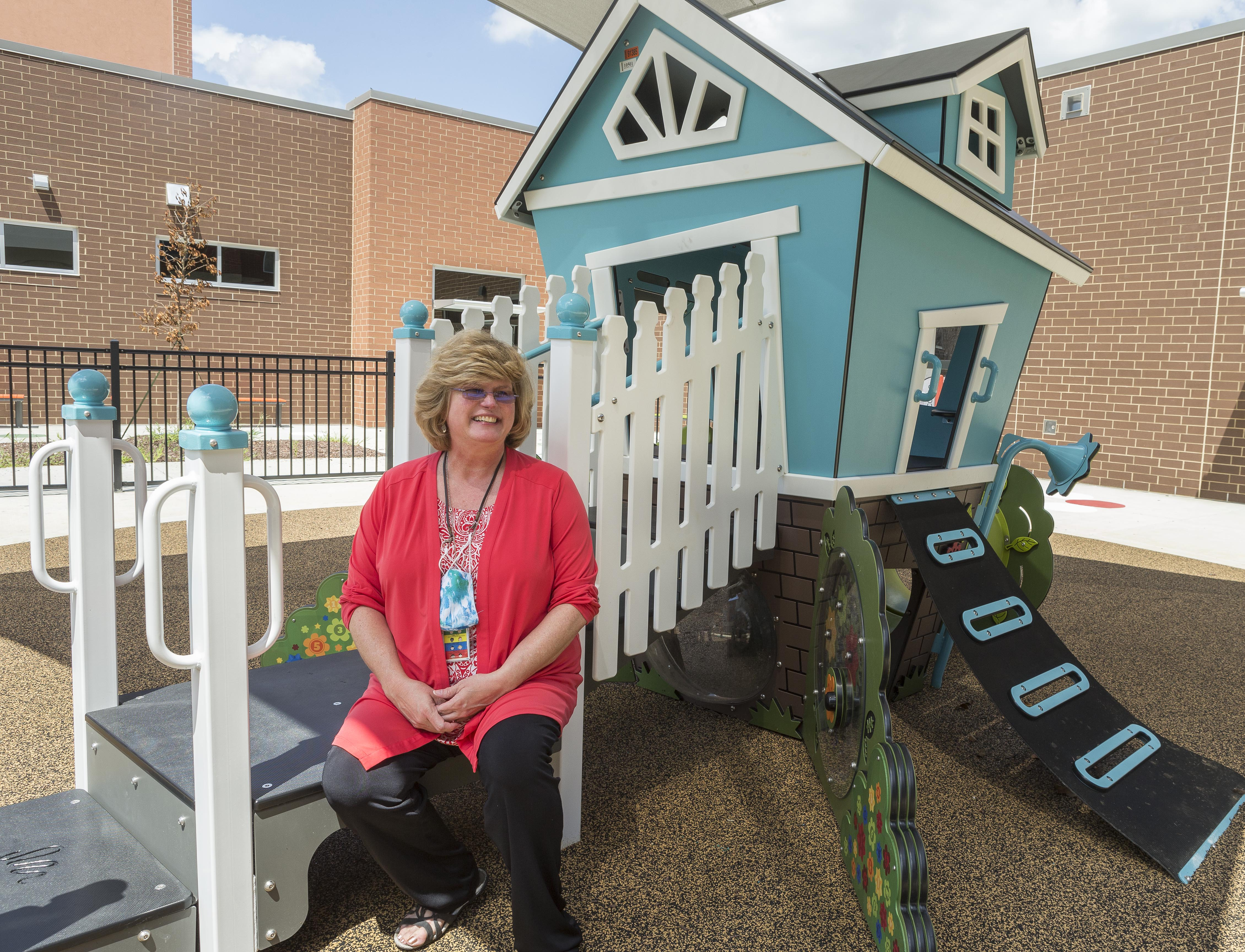 Kim Short, principal at South Lakes Elementary School, on the Pre-K playground